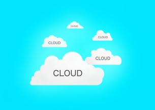 青い背景にクラウドと書かれた4つの雲の素材 [FYI00961212]