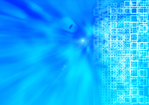 流れるような青い画面と沢山の小さな四角の素材 [FYI00961843]