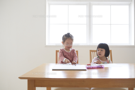 窓辺でお絵かきをする2人の女の子の素材 [FYI00962608]