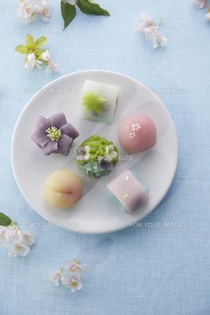 上から見る丸いお皿にパステルカラーの和菓子サクラの素材 [FYI00962639]
