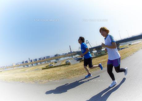 河川敷をジョギングをする男性の素材 [FYI00963017]