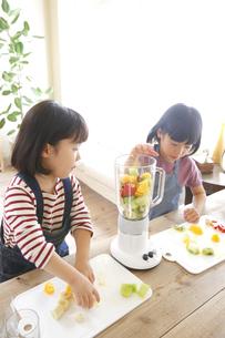 ジュースつくりをしようとする幼い姉妹の素材 [FYI00968525]