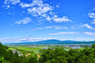 新緑の富良野盆地と青空の素材 [FYI00969383]
