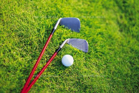 芝生の上のゴルフクラブとボールの素材 [FYI00969479]