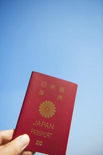 青空のパスポートと手の素材 [FYI00969696]