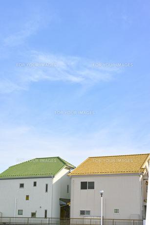 二軒のカラフルな家の素材 [FYI00975067]
