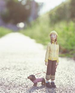 犬の散歩をする女性のクラフトの素材 [FYI00986199]