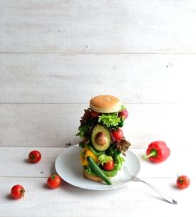いろいろな野菜のハンバーガー 白木材背景の写真素材 [FYI00986410]