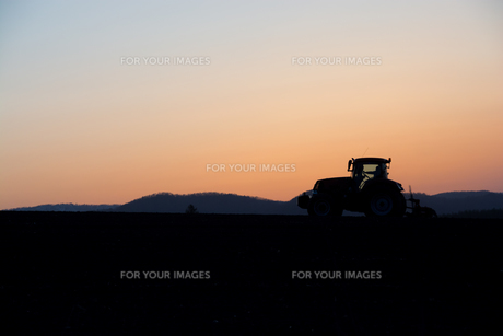 春の夕暮れの丘の農作業の写真素材 [FYI00986569]
