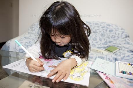 塗り絵をする6歳女児の素材 [FYI00997560]