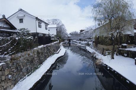 八幡堀の雪景色の素材 [FYI01011902]