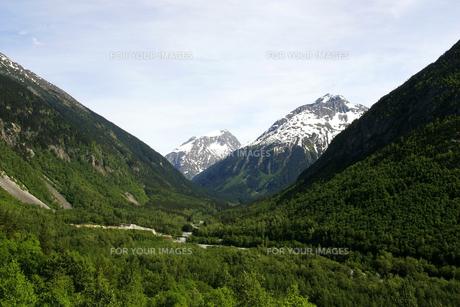ホワイトパス・ユーコン鉄道の列車から望む山並みの素材 [FYI01013393]
