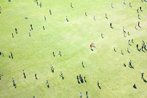 芝生で遊ぶ人々の素材 [FYI01016550]
