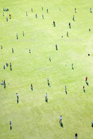 芝生で遊ぶ人々の素材 [FYI01016573]