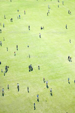 芝生で遊ぶ人々の素材 [FYI01016660]