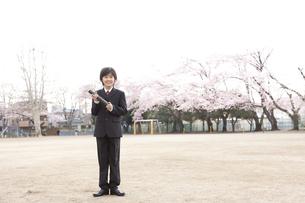 桜咲く校庭で卒業式の小学生の素材 [FYI01018507]
