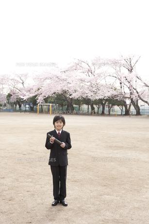桜咲く校庭で卒業式の小学生の素材 [FYI01018541]