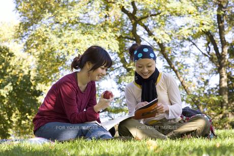 公園で本を読む20代女性2人の素材 [FYI01019745]