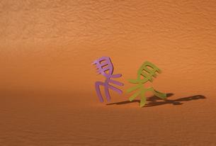 戯れる2頭の馬の立体文字の素材 [FYI01021276]
