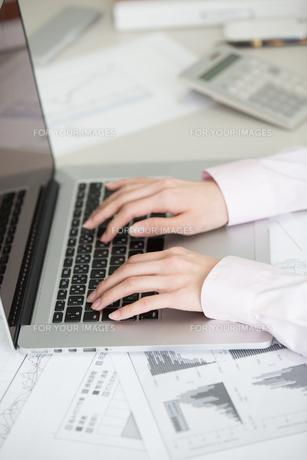 パソコンを打つヤングビジネスレディの素材 [FYI01029353]