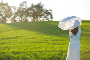 夕日を眺める日傘をさした女性の素材 [FYI01030152]