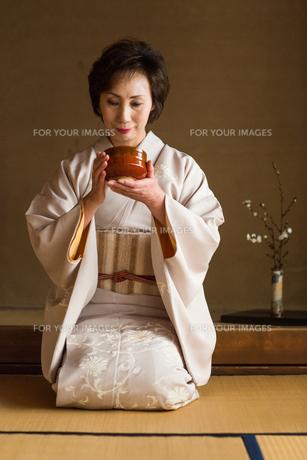 茶道を嗜む50代女性の素材 [FYI01030356]