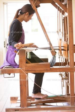 大島紬を織る女性の素材 [FYI01030778]