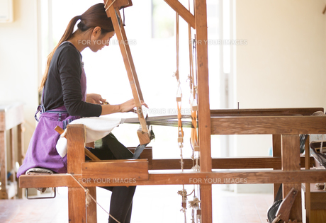 大島紬を織る女性の素材 [FYI01030796]
