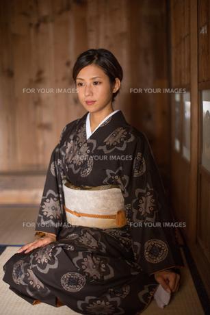 大島紬の着物でポーズする女性の素材 [FYI01030818]