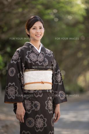 大島紬の着物でポーズする女性の素材 [FYI01030821]