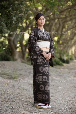 大島紬の着物でポーズする女性の素材 [FYI01030823]
