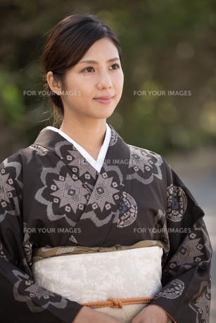 大島紬の着物でポーズする女性の素材 [FYI01030875]