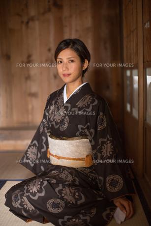 大島紬の着物でポーズする女性の素材 [FYI01030883]
