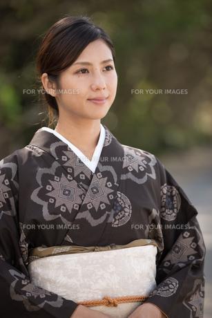 大島紬の着物でポーズする女性の素材 [FYI01030893]