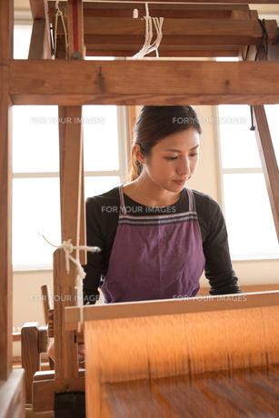 大島紬を織る女性の素材 [FYI01030915]