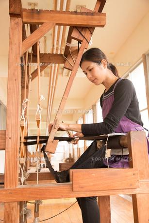 大島紬を織る女性の素材 [FYI01030945]