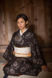 大島紬の着物でポーズする女性の素材 [FYI01030950]