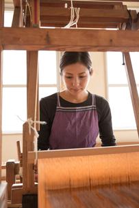 大島紬を織る女性の素材 [FYI01030957]