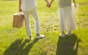 芝生の上に立っている新郎新婦の素材 [FYI01033457]