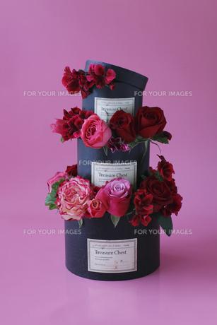赤、ピンクのバラと赤いゼラニウムの黒いボックスの3段アレンジの素材 [FYI01038086]