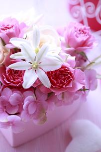ピンクのハートの箱のフラワーアレンジの素材 [FYI01038411]
