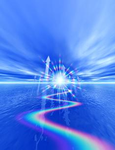 矢印と虹色の光の素材 [FYI01038739]