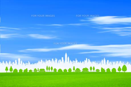 草原と白い街並の素材 [FYI01038777]