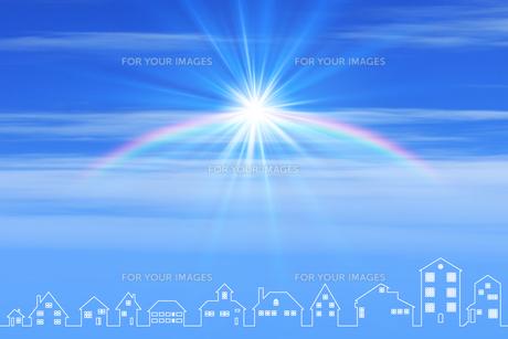 青空と町並と虹と太陽の素材 [FYI01038792]