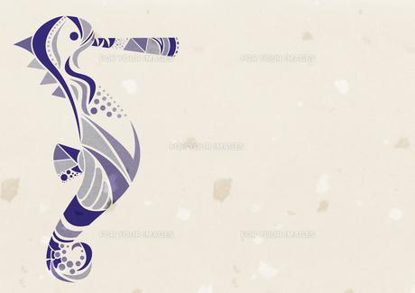 和紙の紙に紺色のタツノオトシゴの素材 [FYI01040613]