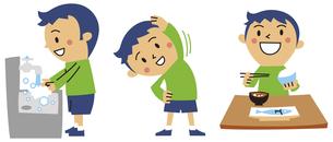 手洗い、体操、しっかり食事する男の子の素材 [FYI01040742]