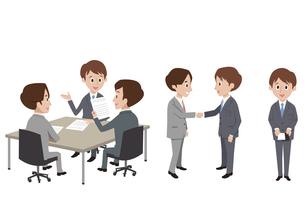 ビジネスシーン(打ち合わせ、握手、名刺)の素材 [FYI01040761]