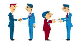 ビジネスシーン(名刺交換、握手)の素材 [FYI01040788]