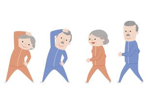 体操をする老夫婦・ウォーキングをする老夫婦の素材 [FYI01040827]