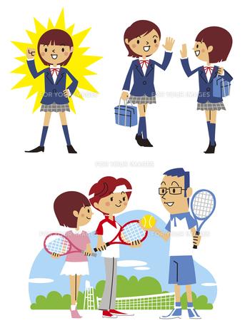 元気、友達と挨拶、家族でテニスする女子高生の素材 [FYI01040839]